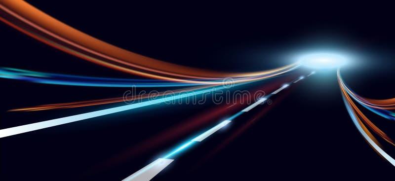 Vectorillustratie van dynamische lichten Hoge snelheidsweg in nachtabstractie Het de autolicht van de stadsweg sleept motie royalty-vrije illustratie