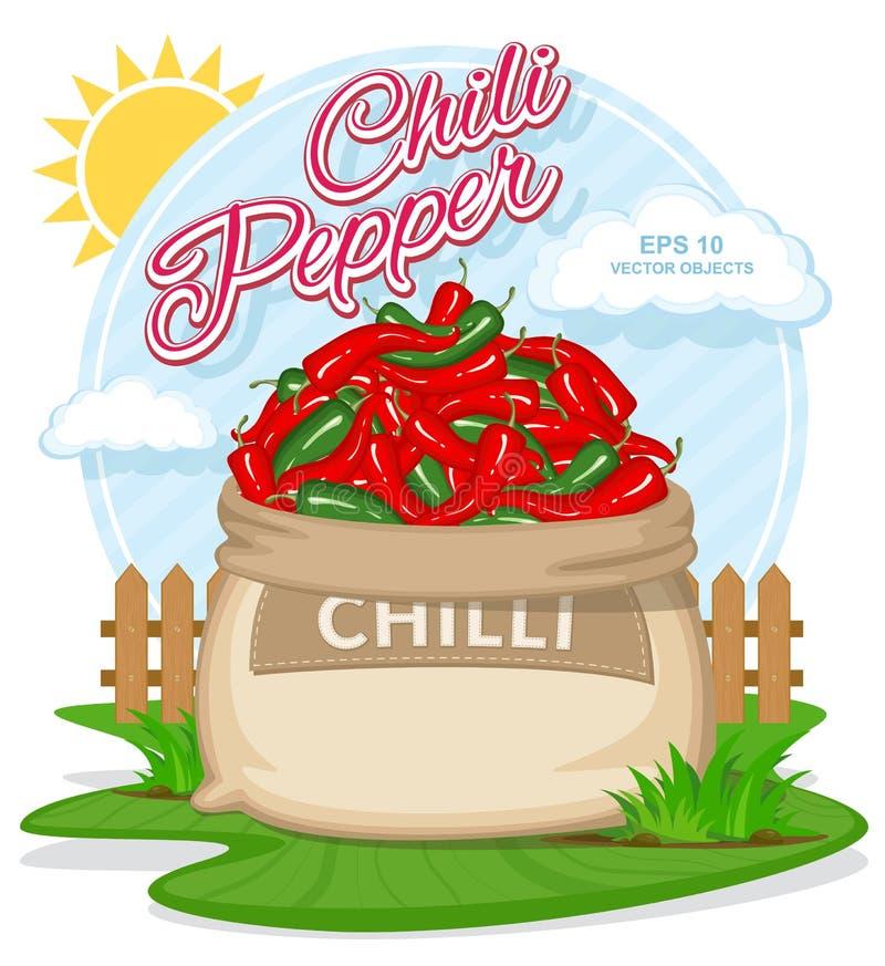 Vectorillustratie van ecoproducten Rijp Chili Pepper in jutezak Volledige zakken met verse groenten royalty-vrije illustratie