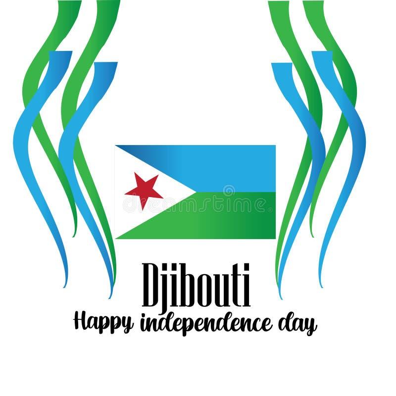 Vectorillustratie van een Achtergrond voor het Ontwerp van de de Onafhankelijkheidsdag van Djibouti - Het vector royalty-vrije illustratie