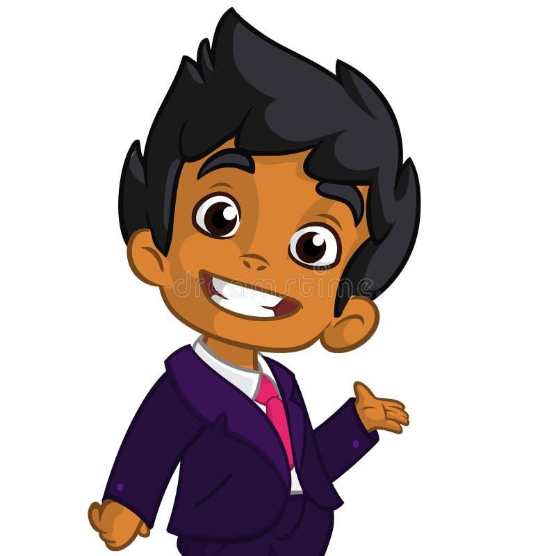 Vectorillustratie van een Arabische jongen in mensen` s kleren Het beeldverhaal van een jonge jongen omhoog gekleed in a bemant h vector illustratie