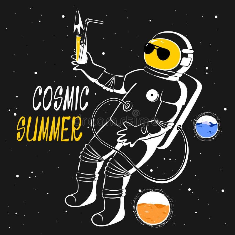Vectorillustratie van een astronaut in ruimte met cocktail op een zwarte achtergrond royalty-vrije stock afbeelding