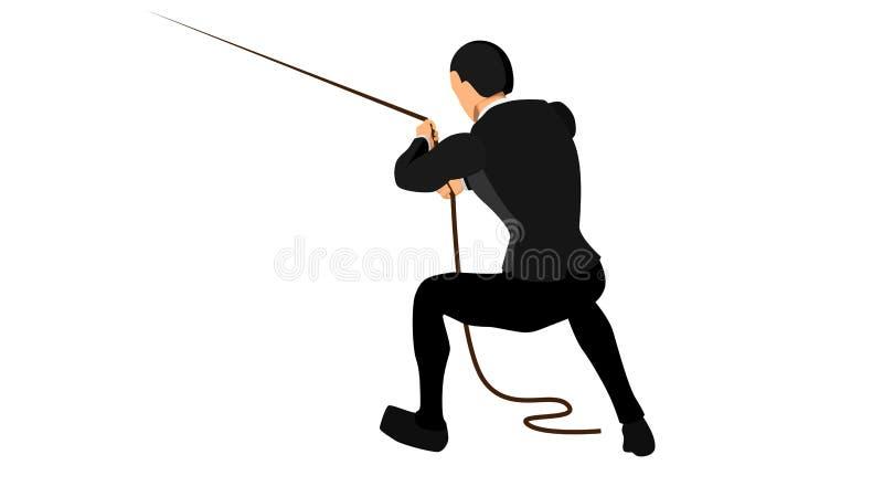 Vectorillustratie van een bedrijfsconcept van een ondernemer die probeert om een kabel, met een afzonderlijke witte achtergrond t royalty-vrije illustratie
