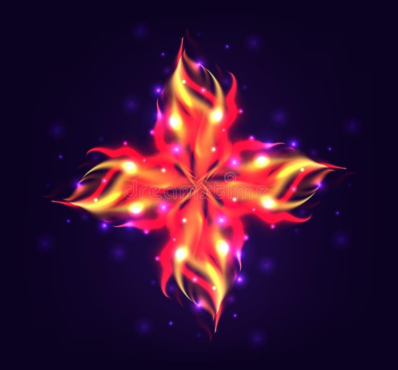 Vectorillustratie van een bloem met een realistische brand vector illustratie