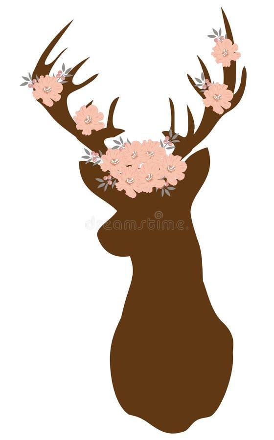 Vectorillustratie van een bloemenhertensilhouet Abstract bloemenontwerp royalty-vrije illustratie