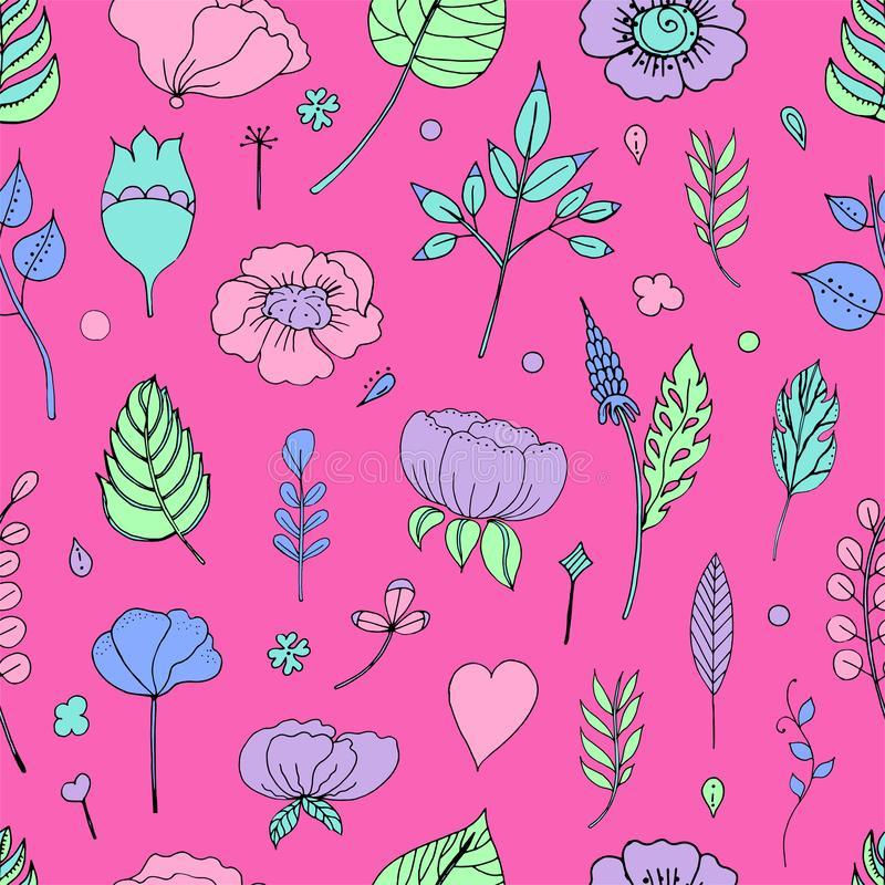 Vectorillustratie van een bloemenkader in de vorm van een hart van bloemenelementen, bladeren, knoppen, bloemen stock illustratie