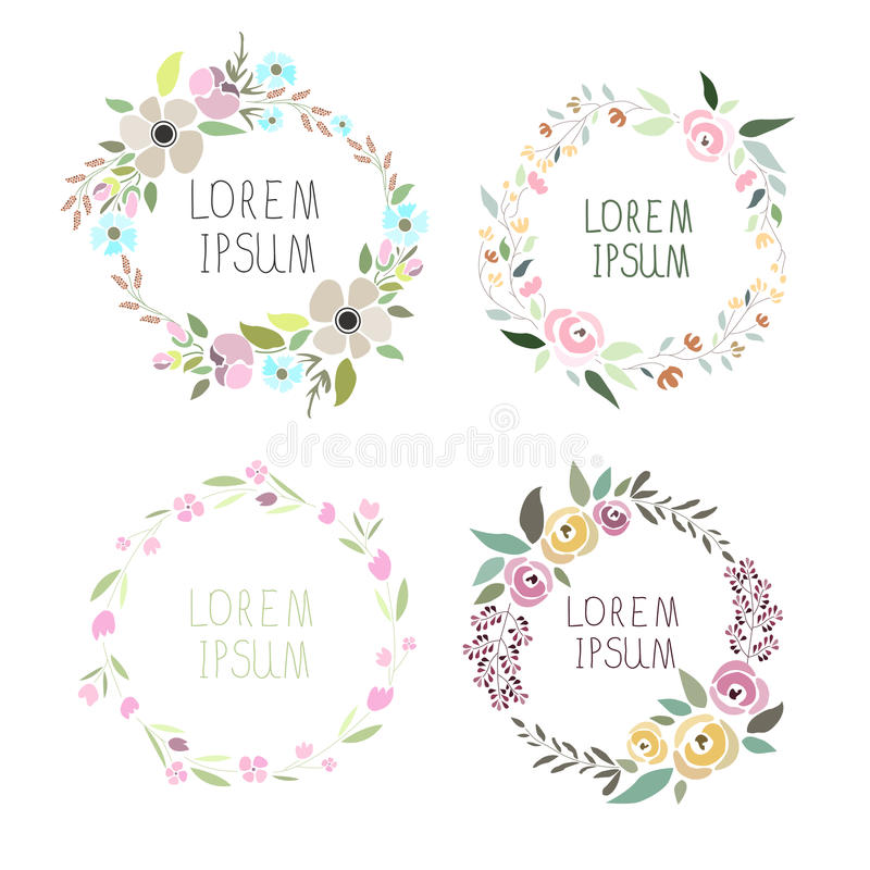 Vectorillustratie van een bloemenkroonreeks vector illustratie