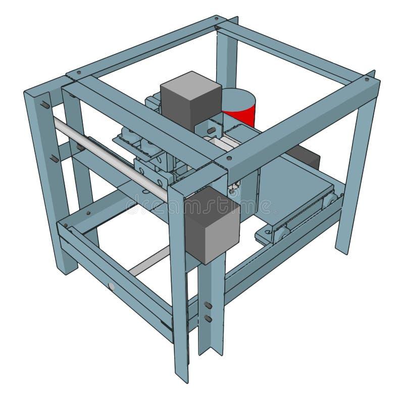 Vectorillustratie van een cnc-machine royalty-vrije illustratie