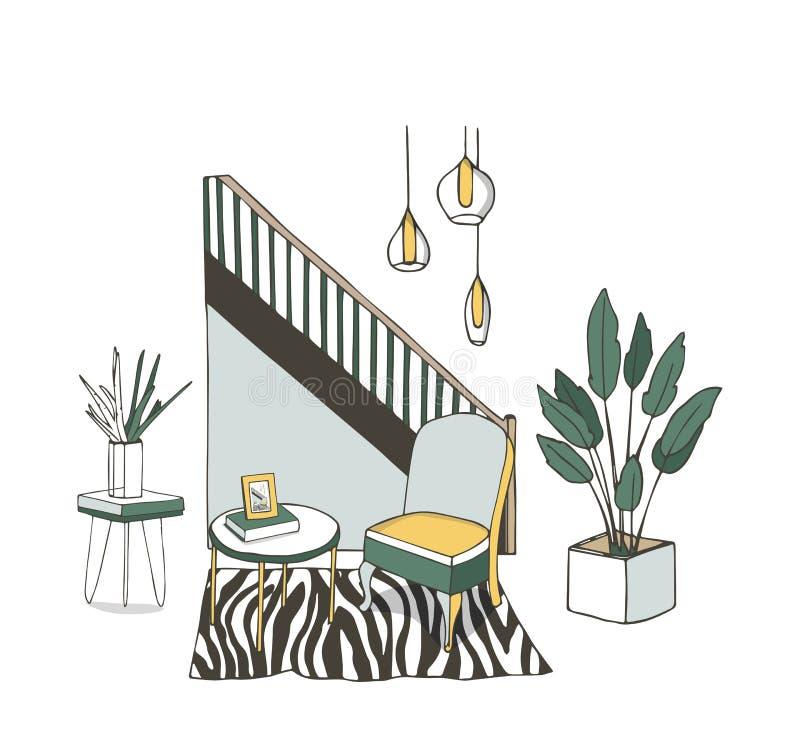 Vectorillustratie van een comfortabel beeldverhaalbinnenland van een huisruimte, een woonkamer met een bank, koffietafel, ladenka vector illustratie