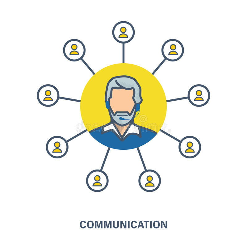 Vectorillustratie van een communicatie concept als elementeninteractie, contact, dialoog stock illustratie