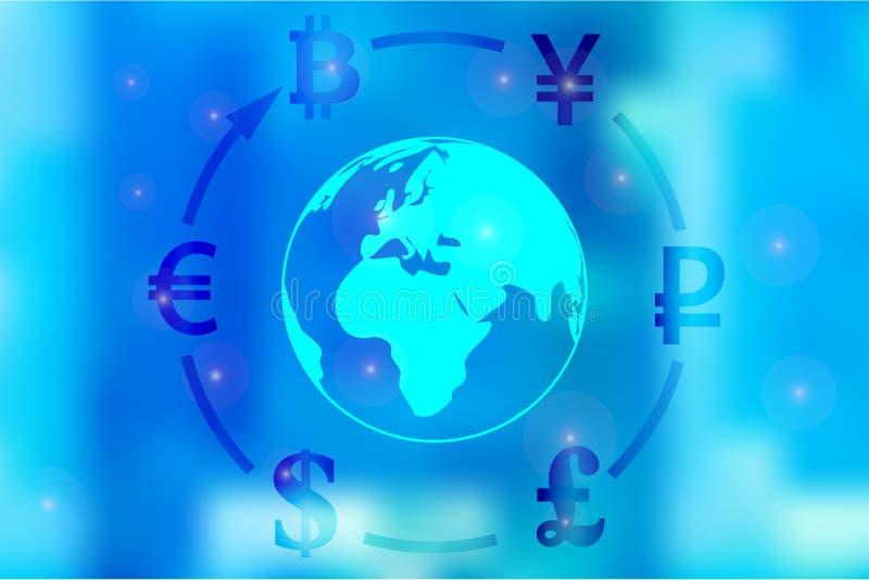 Vectorillustratie van een concept de dollar van de muntuitwisseling, Yen, pond, roebel, euro, bitcoin rond de bol op een blauwe b vector illustratie