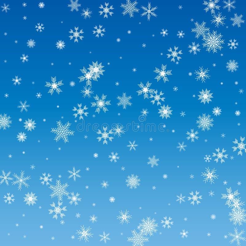 Vectorillustratie van een de winterachtergrond met sneeuwvlokken vector illustratie