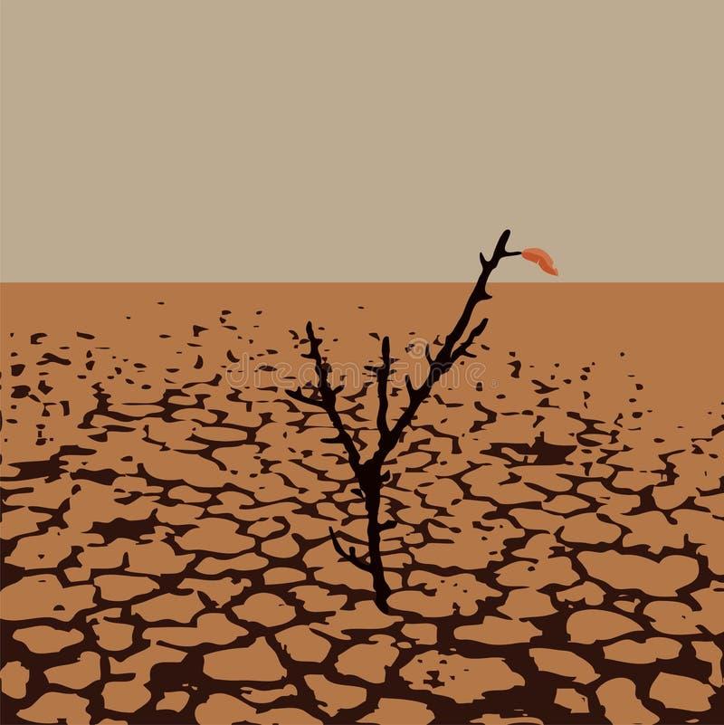 Vectorillustratie van een eenzame boom in droog woestijnland stock illustratie