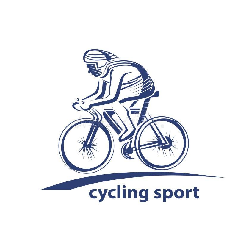 Vectorillustratie van een fietser, embleem Atleten` s embleem op een fiets cycling royalty-vrije illustratie