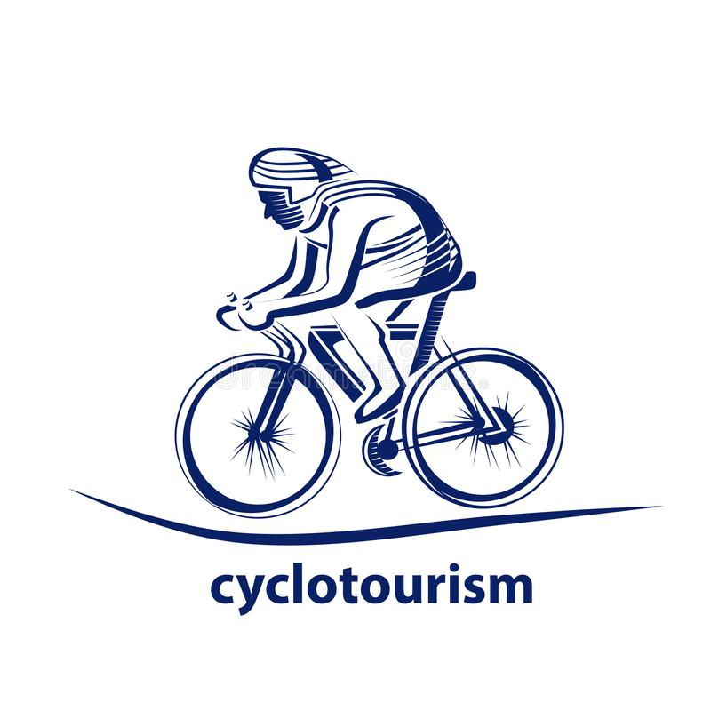 Vectorillustratie van een fietser, embleem Atleten` s embleem op een fiets cycling vector illustratie