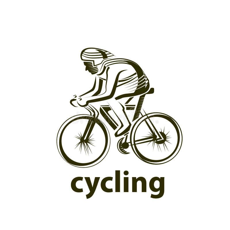 Vectorillustratie van een fietser, embleem Atleten` s embleem op een fiets cycling stock illustratie