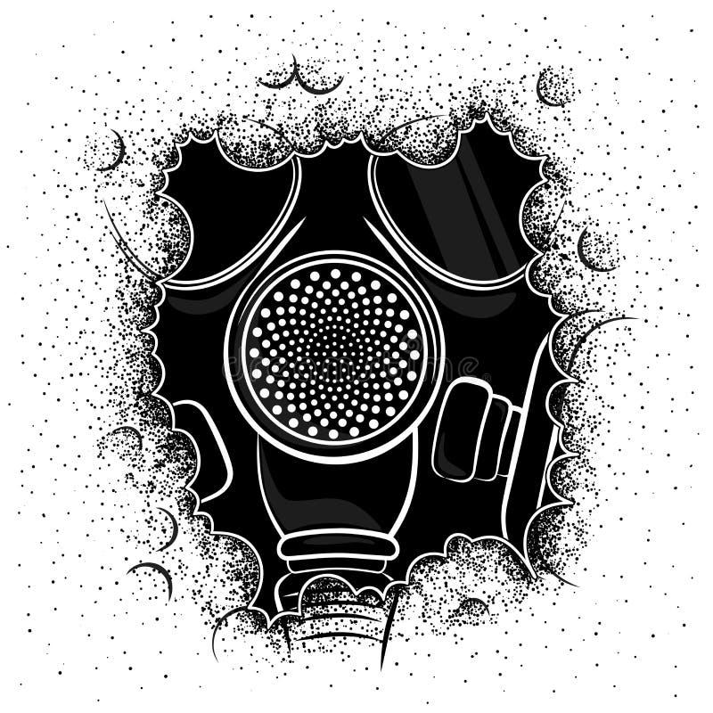 Vectorillustratie van een gasmasker in rook op witte achtergrond royalty-vrije stock fotografie