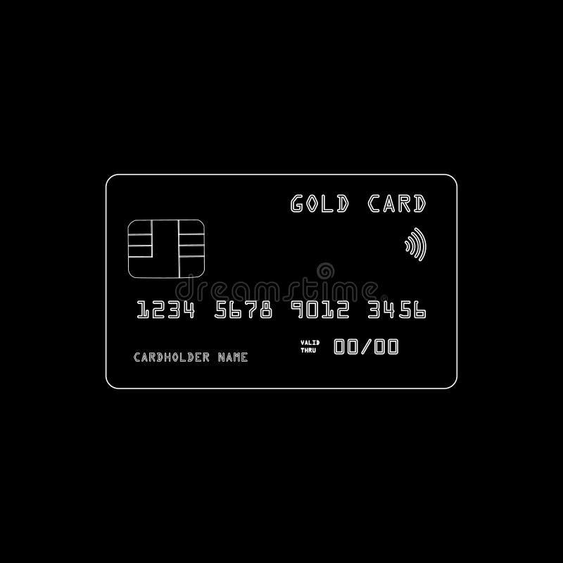 Vectorillustratie van een gouden creditcard die op donkere achtergrond wordt geïsoleerd vector illustratie
