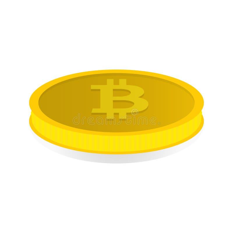 Vectorillustratie van een gouden muntstuk met symboolcryptocurrency Bitcoin royalty-vrije illustratie
