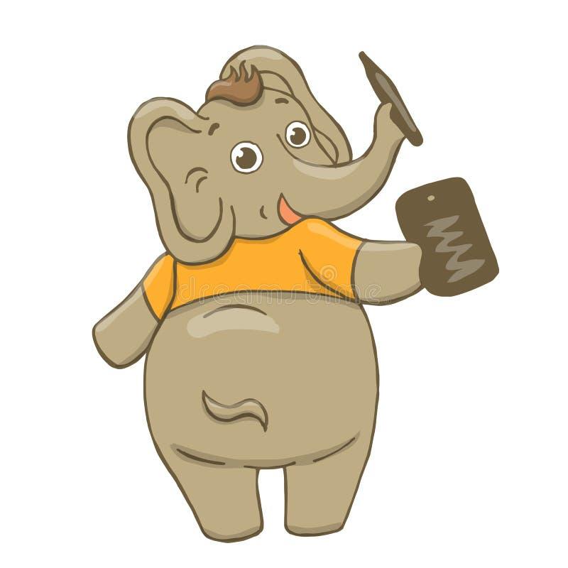 Vectorillustratie van een grappige, grijze, vrolijke olifant in een gele t-shirt, trekkend op een tablet, het dansen, het lopen,  vector illustratie