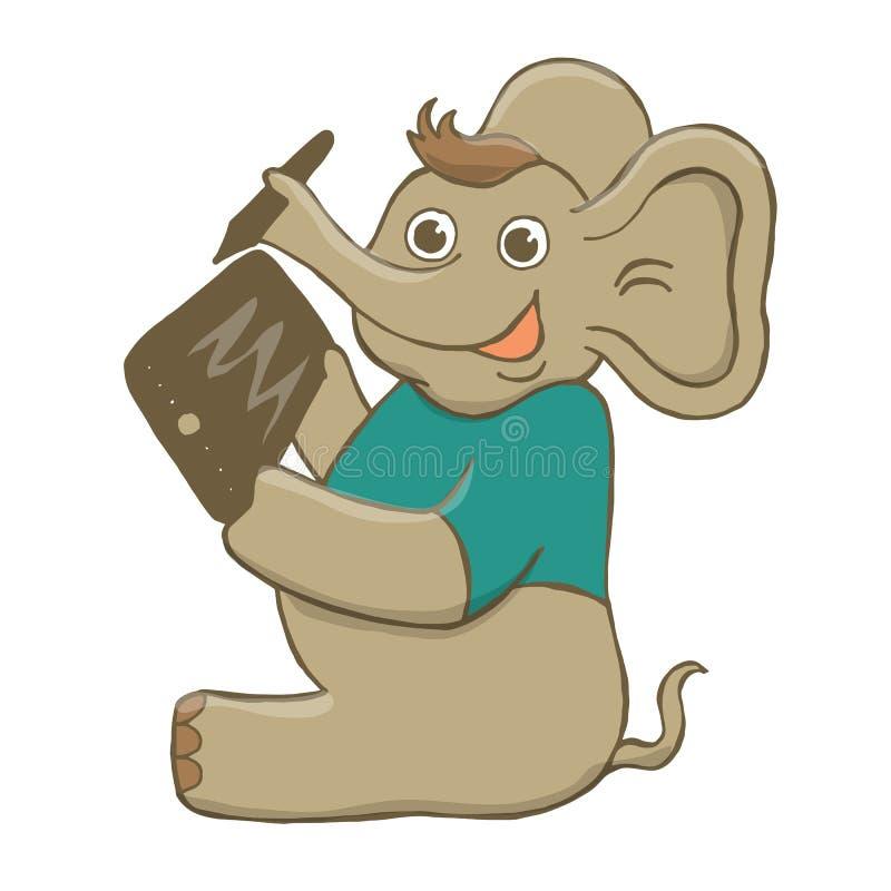 Vectorillustratie van een grappige, grijze, vrolijke olifant in een groene t-shirt, die op een tablet, zitting, het lachen trekke vector illustratie