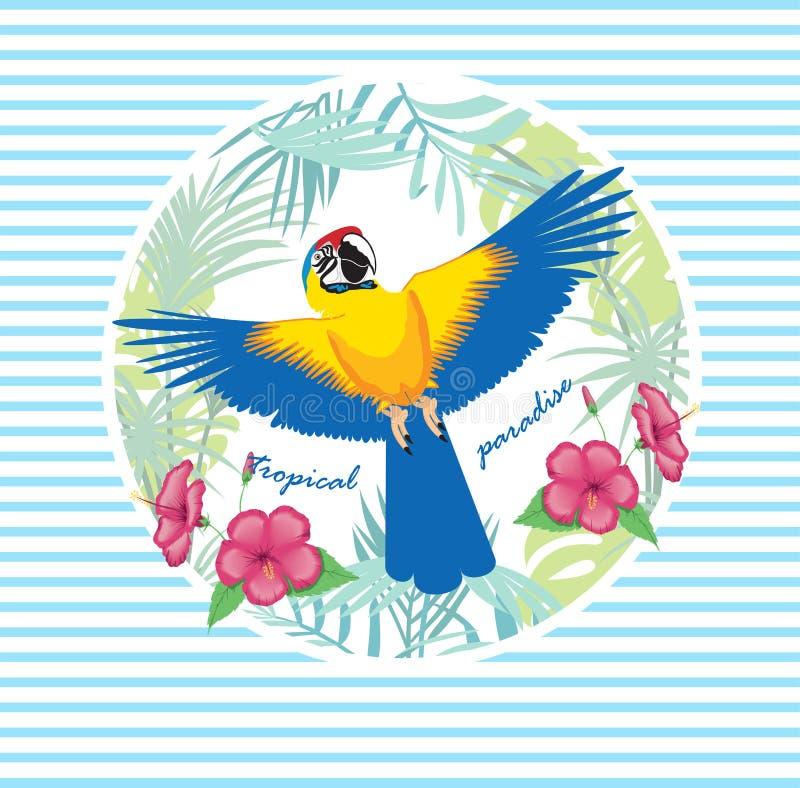 Vectorillustratie van een heldere tropische vogelpapegaai op een gestreepte achtergrond Kleurrijk pictogram van tropische aard royalty-vrije illustratie