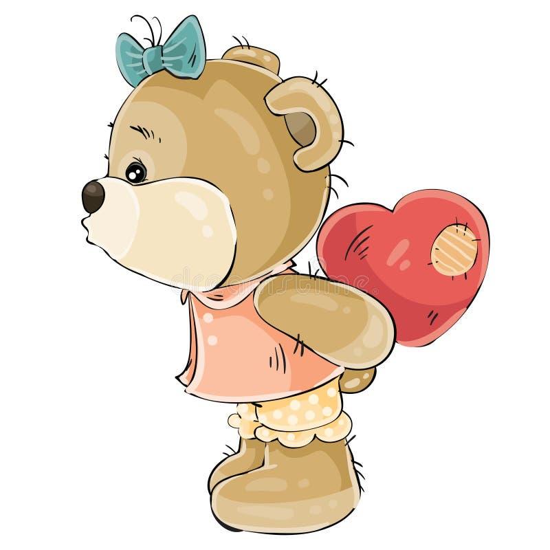 Vectorillustratie van een houdend van bruin teddybeermeisje die achter haar pluche rood hart en ongeveer aan kus verbergen iemand stock illustratie