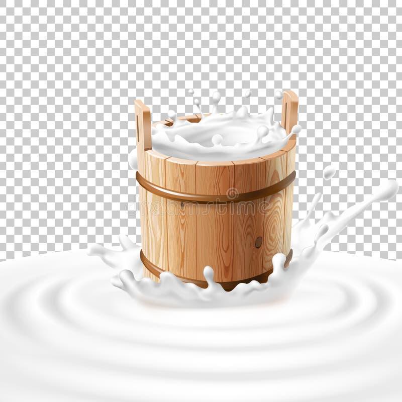 Vectorillustratie van een houten emmer met melk die zich in het centrum van een zuivelplons bevinden stock illustratie