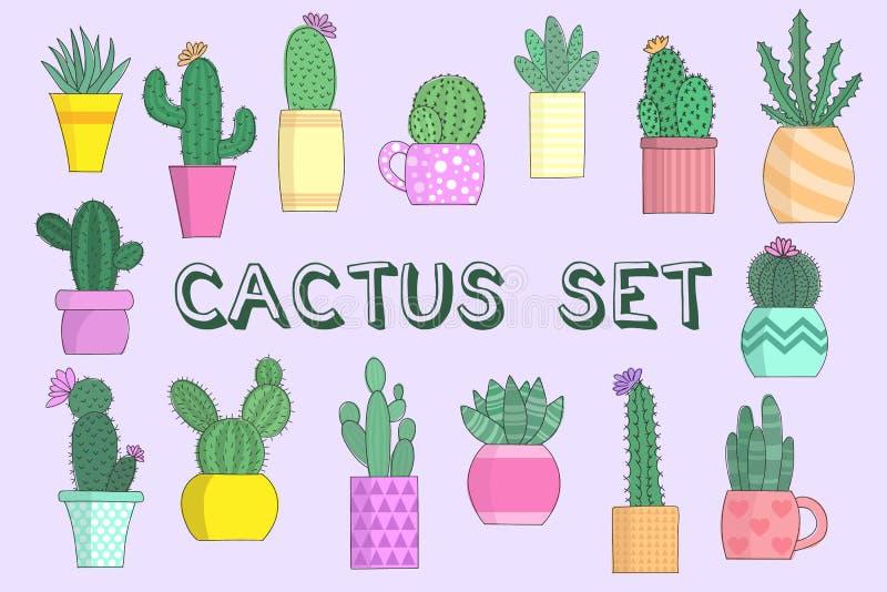 Vectorillustratie van een inzameling van cactussen in bloempotten op een lichte achtergrond Reeks kleurenbeelden met een inschrij stock illustratie