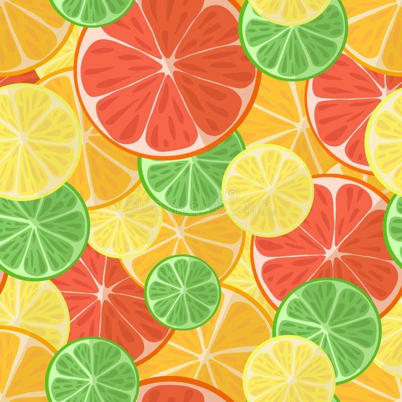 Vectorillustratie van een inzameling van citrusvrucht op een lichte achtergrond Helder naadloos patroon met een beeld van citroen royalty-vrije illustratie