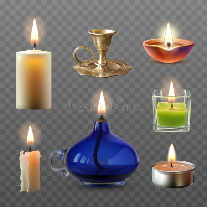 Vectorillustratie van een inzameling van diverse kaarsen in een realistische stijl royalty-vrije illustratie