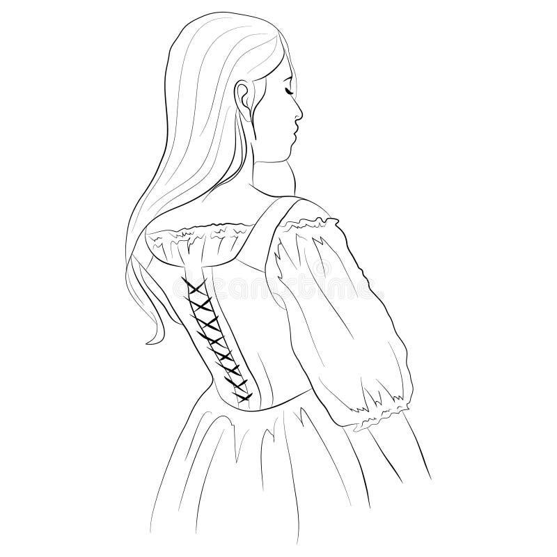 Vectorillustratie van een jong meisje die in een korset met stromend haar achteruitgaan royalty-vrije illustratie