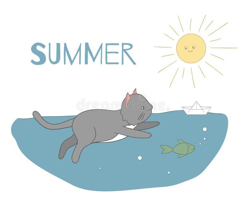 Vectorillustratie van een kat die in water met een vissen en document schip onder de zon zwemmen stock illustratie