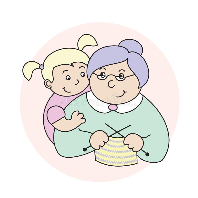 Vectorillustratie van een kleine kleindochter die grootmoeder, het bejaarde dame breien koesteren stock illustratie