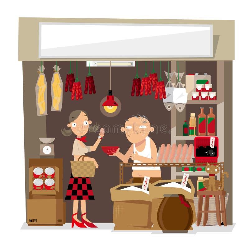 Vectorillustratie van een kleine lokale kruidenierswinkelopslag in Hong Kong vector illustratie
