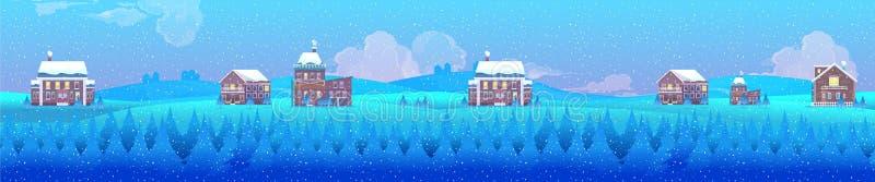 Vectorillustratie van een landschap van het de winterdorp, horizontale achtergrond voor uw ontwerp vector illustratie