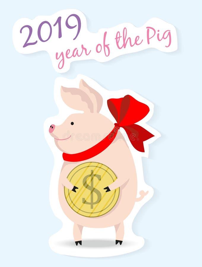Vectorillustratie van een leuk varken die een dollarmuntstuk, symbool van nieuwe 2019, beeldverhaalontwerp houden stock illustratie