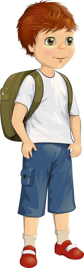 Vectorillustratie van een leuke kleine jongen met een rugzak achter zijn rug met sproeten op zijn gezicht vector illustratie