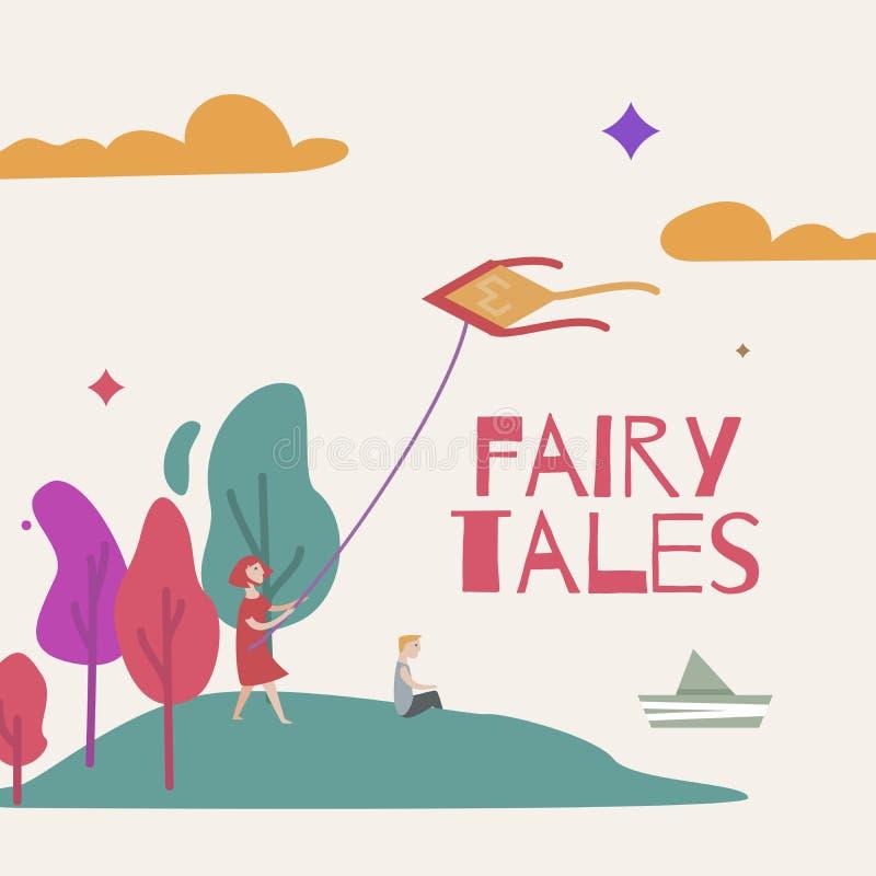 Vectorillustratie van een magisch bos voor een boek van sprookjes royalty-vrije illustratie