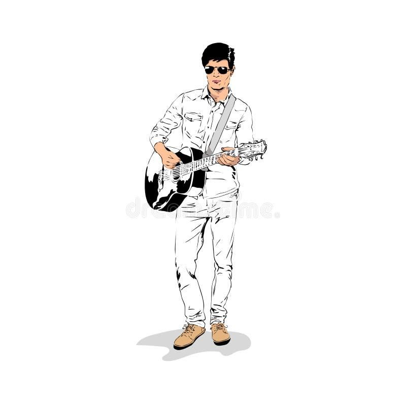 Vectorillustratie van een mannelijke musicus het spelen gitaar, met de hand gemaakte schets royalty-vrije illustratie
