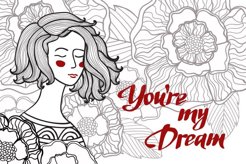 Vectorillustratie van een meisje met bloemen en bladeren en tekst vector illustratie