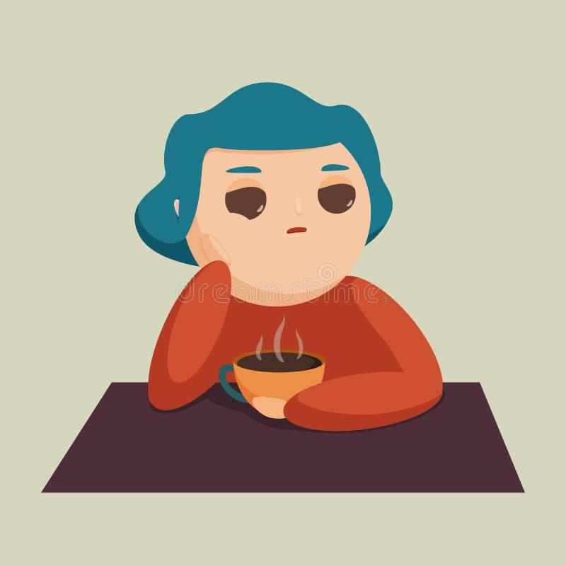 Vectorillustratie van een meisje met een kop stock illustratie