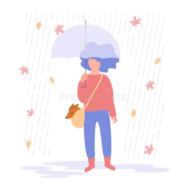 Vectorillustratie van een meisje onder een paraplu op een regenachtige dag vector illustratie