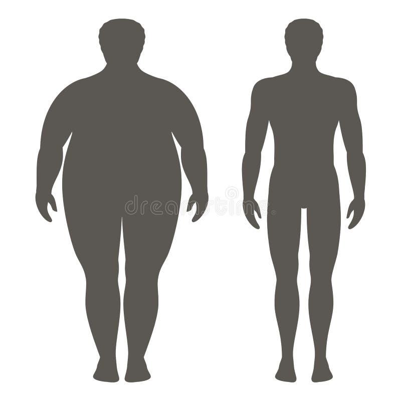 Vectorillustratie van een mens before and after gewichtsverlies Mannelijk lichaamssilhouet Succesvol dieet en sportconcept royalty-vrije illustratie