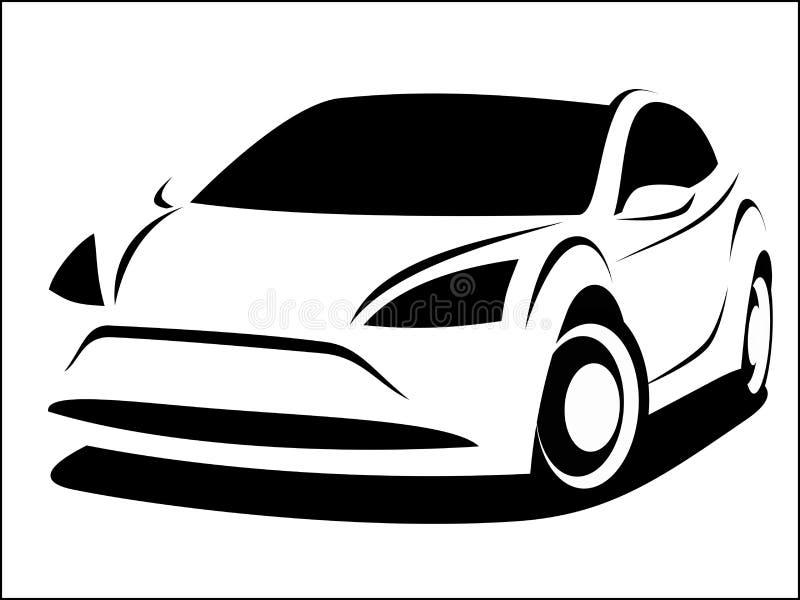 Vectorillustratie van een moderne auto met een sportief aërodynamisch ontwerp stock illustratie