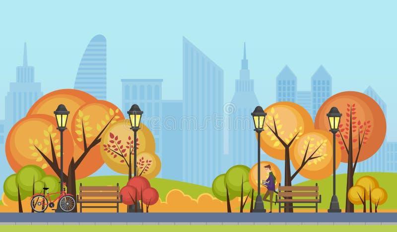 Vectorillustratie van een mooi park van de de herfst openbaar stad met de gebouwen van stadswolkenkrabbers op achtergrond stock illustratie