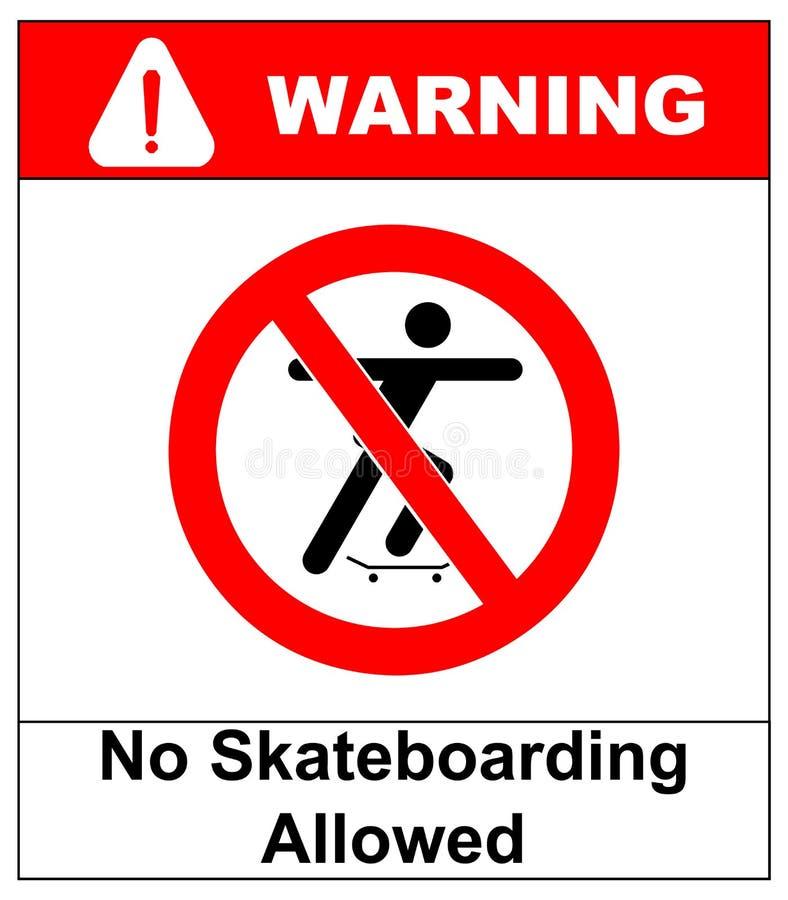 Vectorillustratie van een nr die toegestaan teken met mensensilhouet met een skateboard rijden royalty-vrije illustratie
