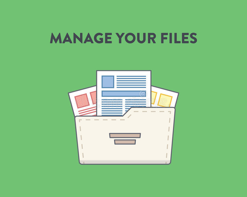 Vectorillustratie van een omslag met binnen documenten stock illustratie