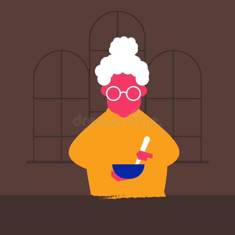 Vectorillustratie van een oude vrouw grootmoeder vector illustratie