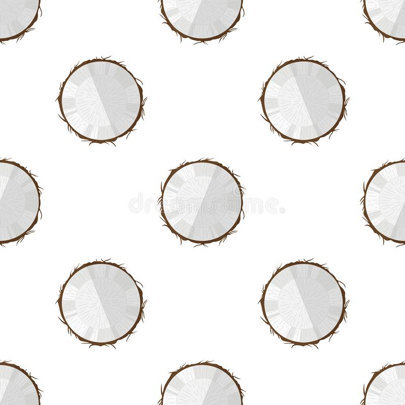 Vectorillustratie van een plak van kokosnoot op een lichte achtergrond Helder fruit naadloos patroon met een beeld van tropische  stock illustratie