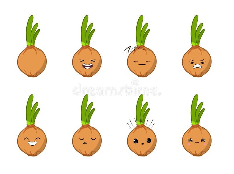 Vectorillustratie van een plantaardig vectordiekarakter van het ui Leuk beeldverhaal - reeks op wit wordt geïsoleerd emoties stic royalty-vrije illustratie